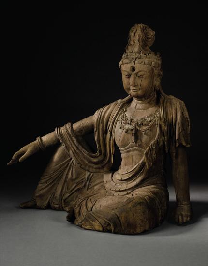 宋金年代木雕水月观音坐像